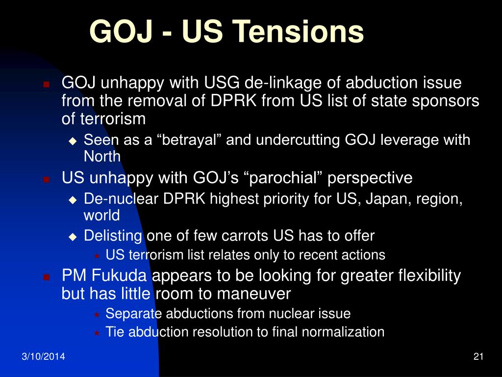GOJ - US Tensions