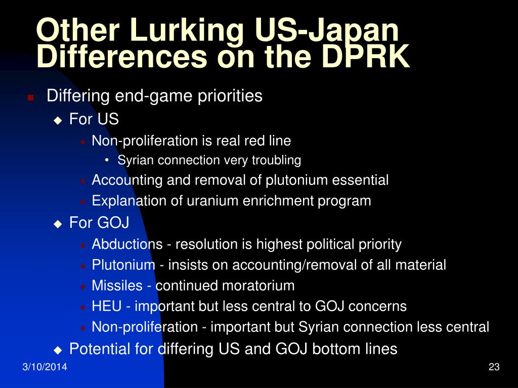 Other Lurking US-Japan Differences on the DPRK