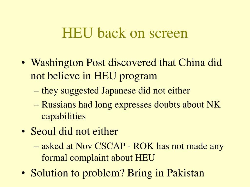 HEU back on screen