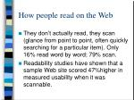 how people read on the web