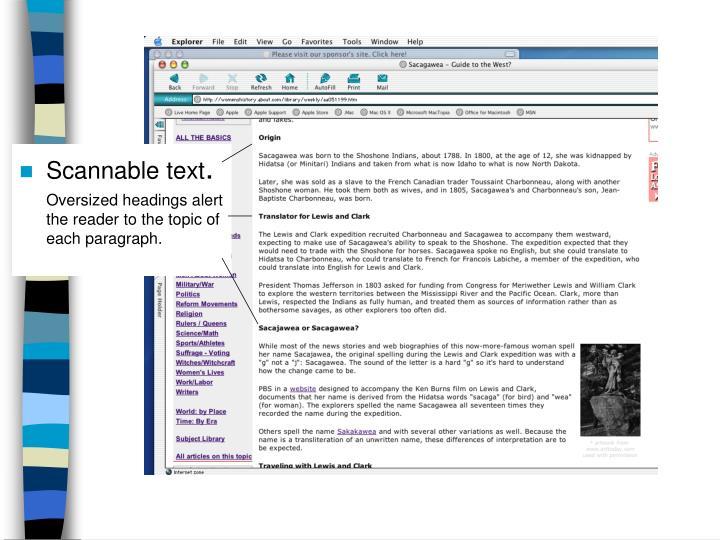 Scannable text