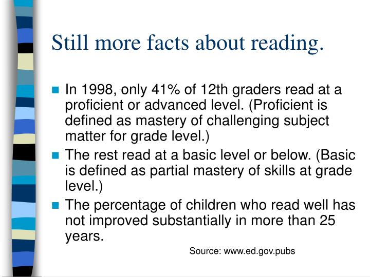 Still more facts about reading