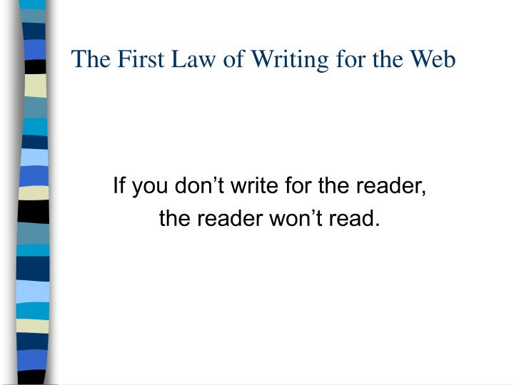 The First Law of Writing for the Web