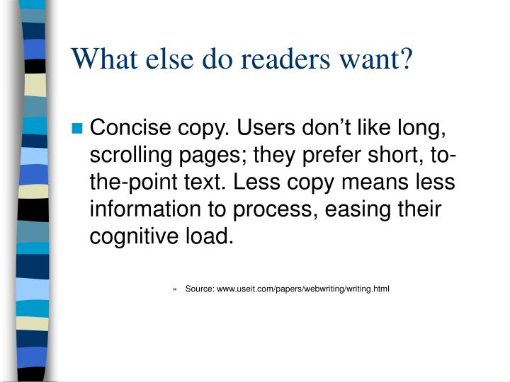 What else do readers want?