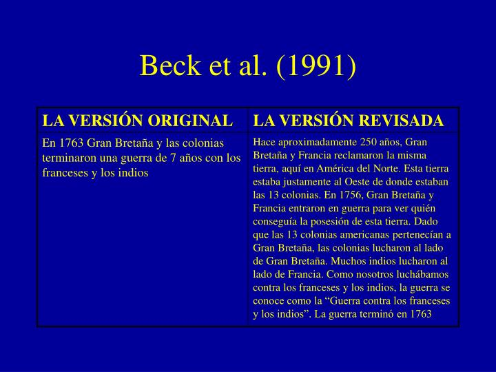 Beck et al. (1991)