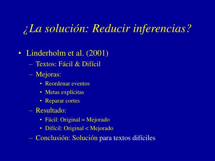 ¿La solución: Reducir inferencias?