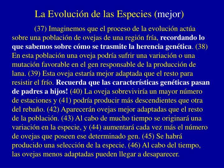 La Evolución de las Especies (