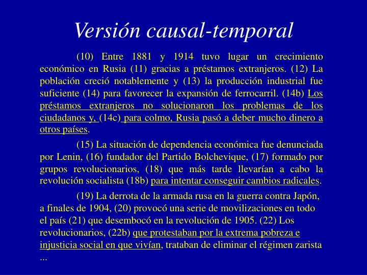 Versión causal-temporal