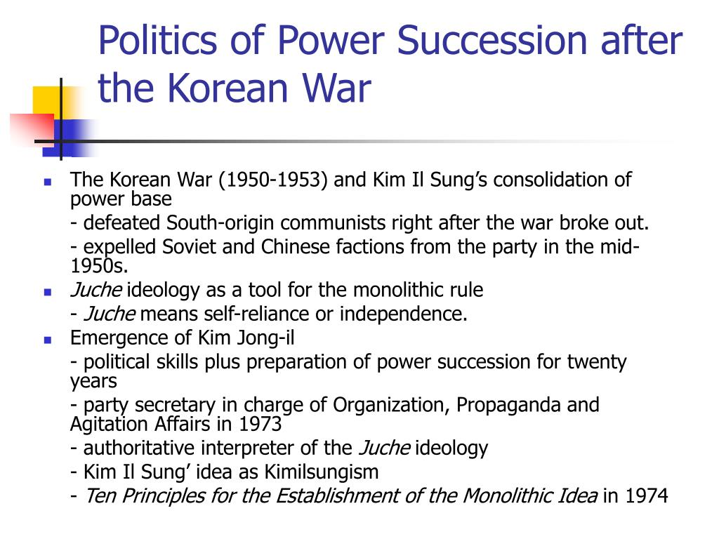 Politics of Power Succession after the Korean War