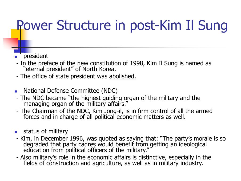 Power Structure in post-Kim Il Sung