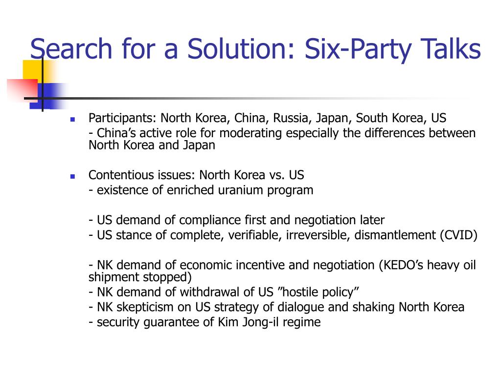 Search for a Solution: Six-Party Talks
