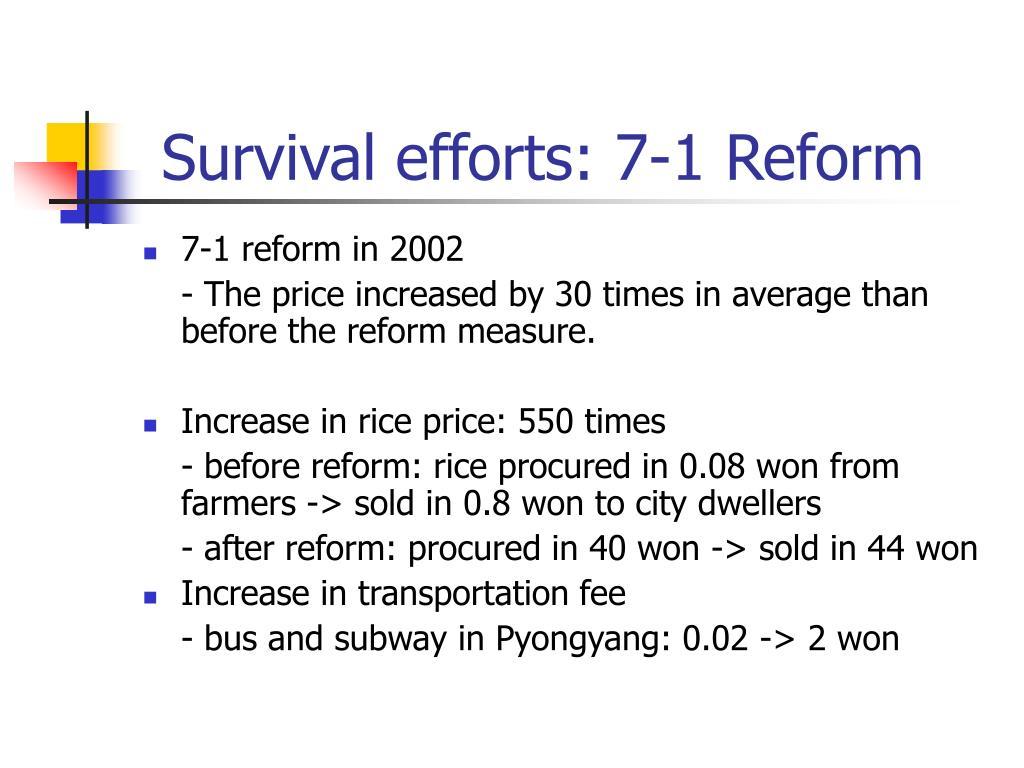 Survival efforts: 7-1 Reform