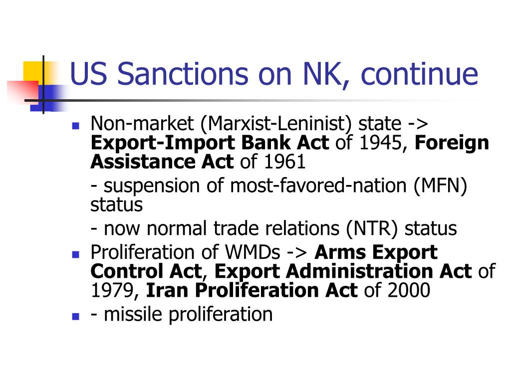 US Sanctions on NK, continue