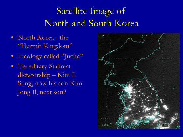 Satellite image of north and south korea