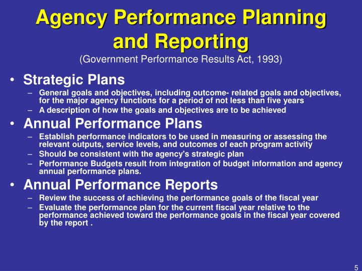 Agency Performance Planning and Reporting