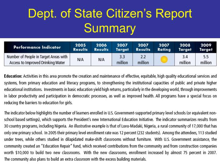 Dept. of State Citizen's Report Summary