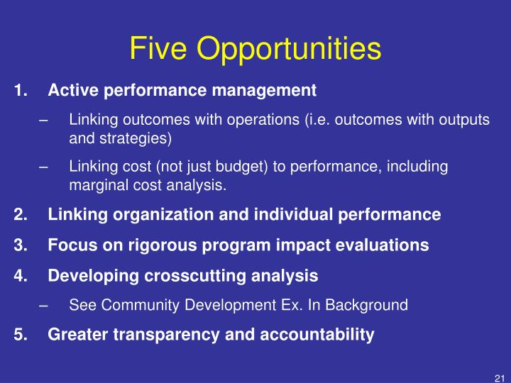Five Opportunities