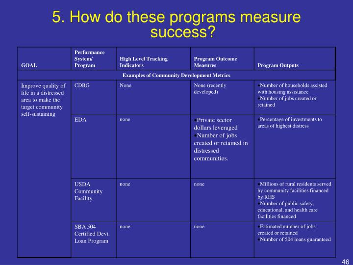 5. How do these programs measure success?