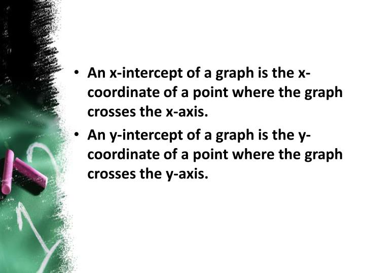 An x-intercept of a graph is the x-coordinate of a point where the graph crosses the x-axis.