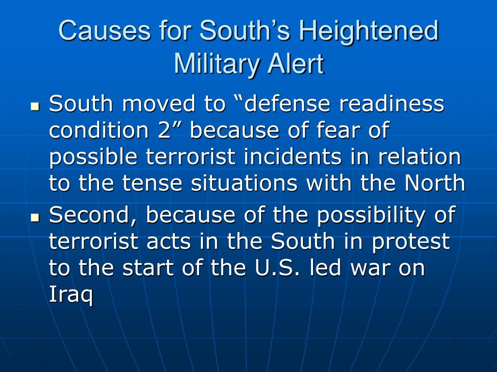 Causes for South's Heightened Military Alert
