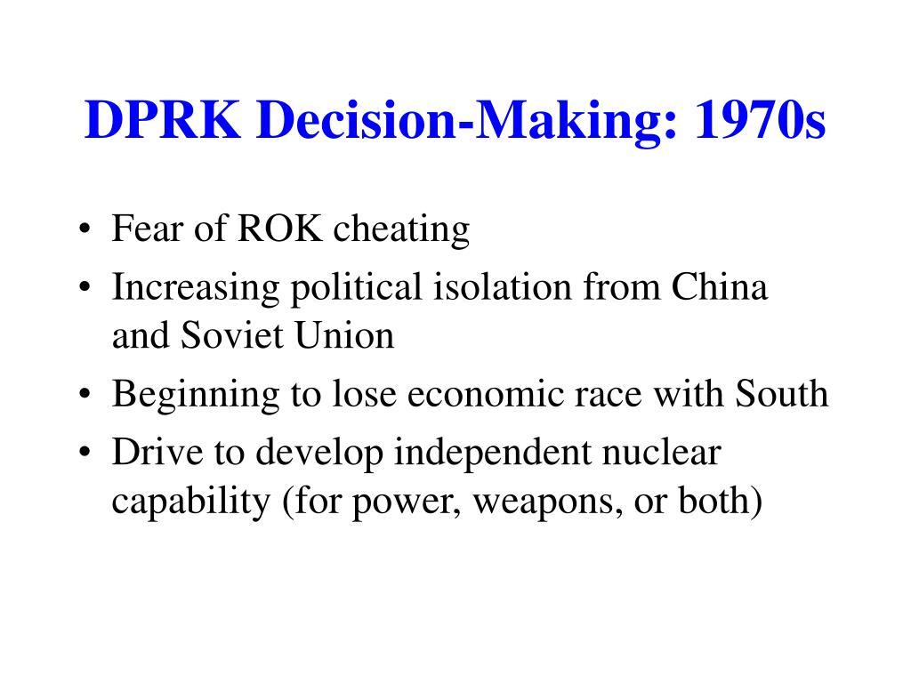 DPRK Decision-Making: 1970s