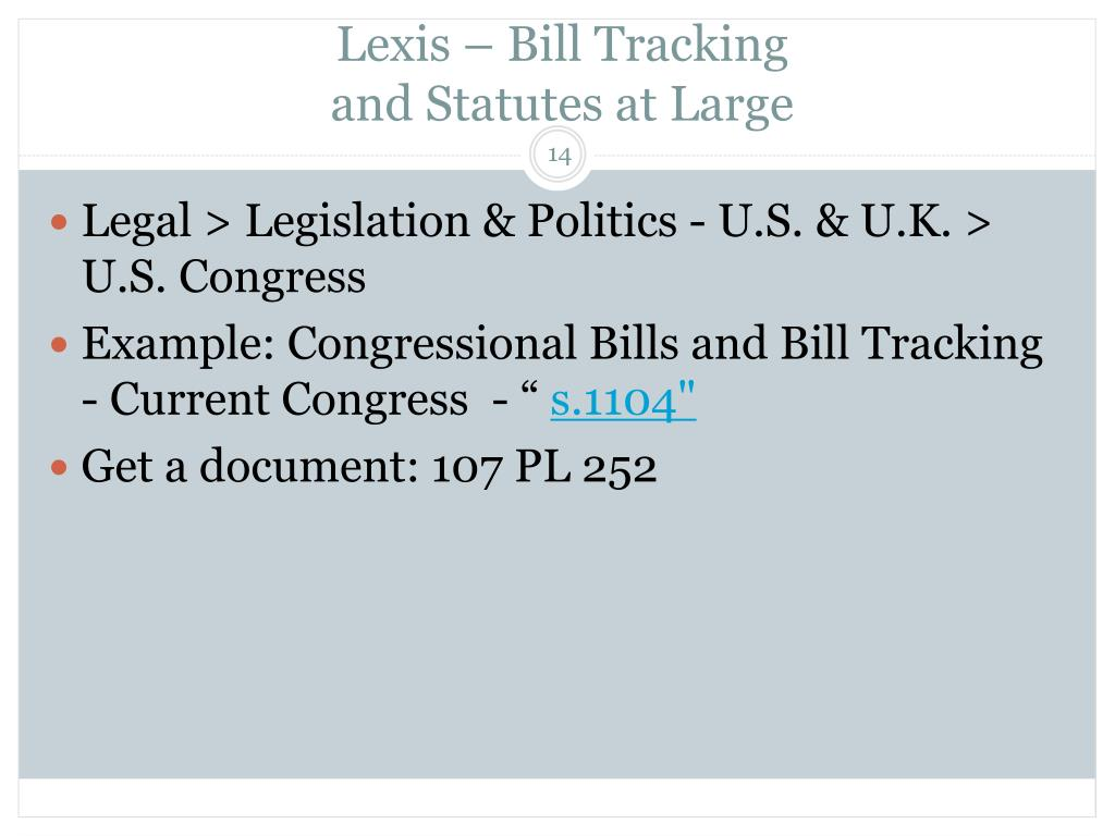 Lexis – Bill Tracking