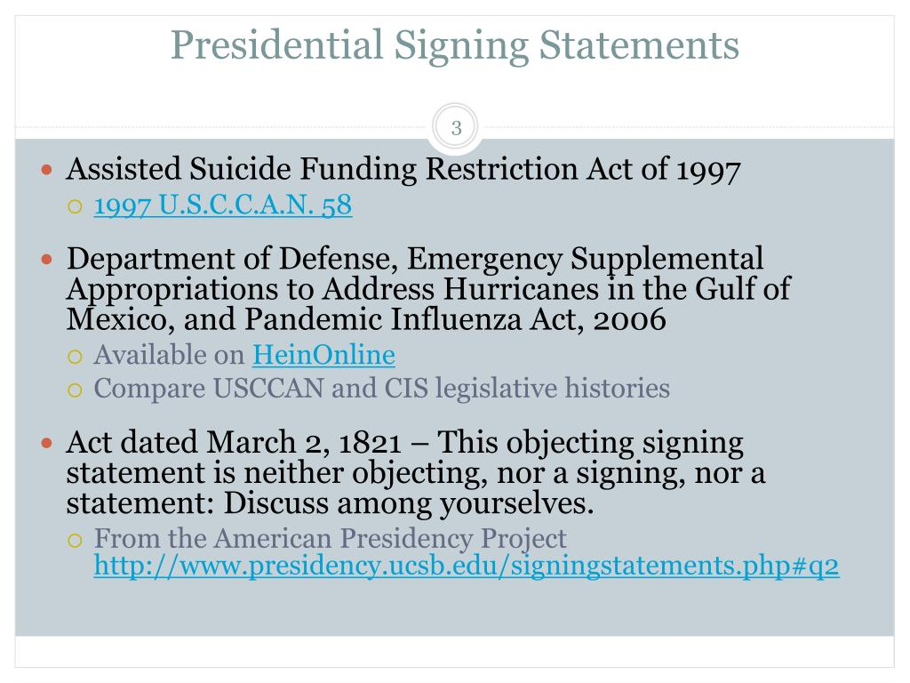 Presidential Signing Statements