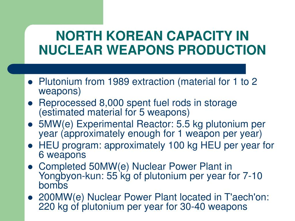 NORTH KOREAN CAPACITY IN