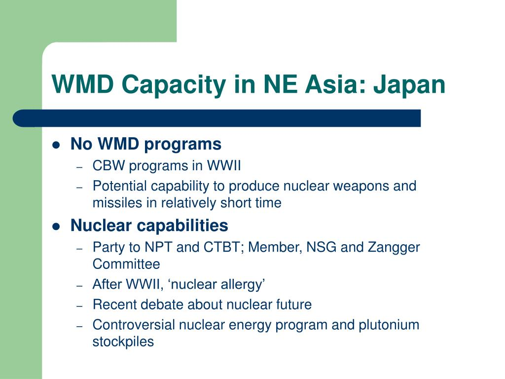 WMD Capacity in NE Asia: Japan