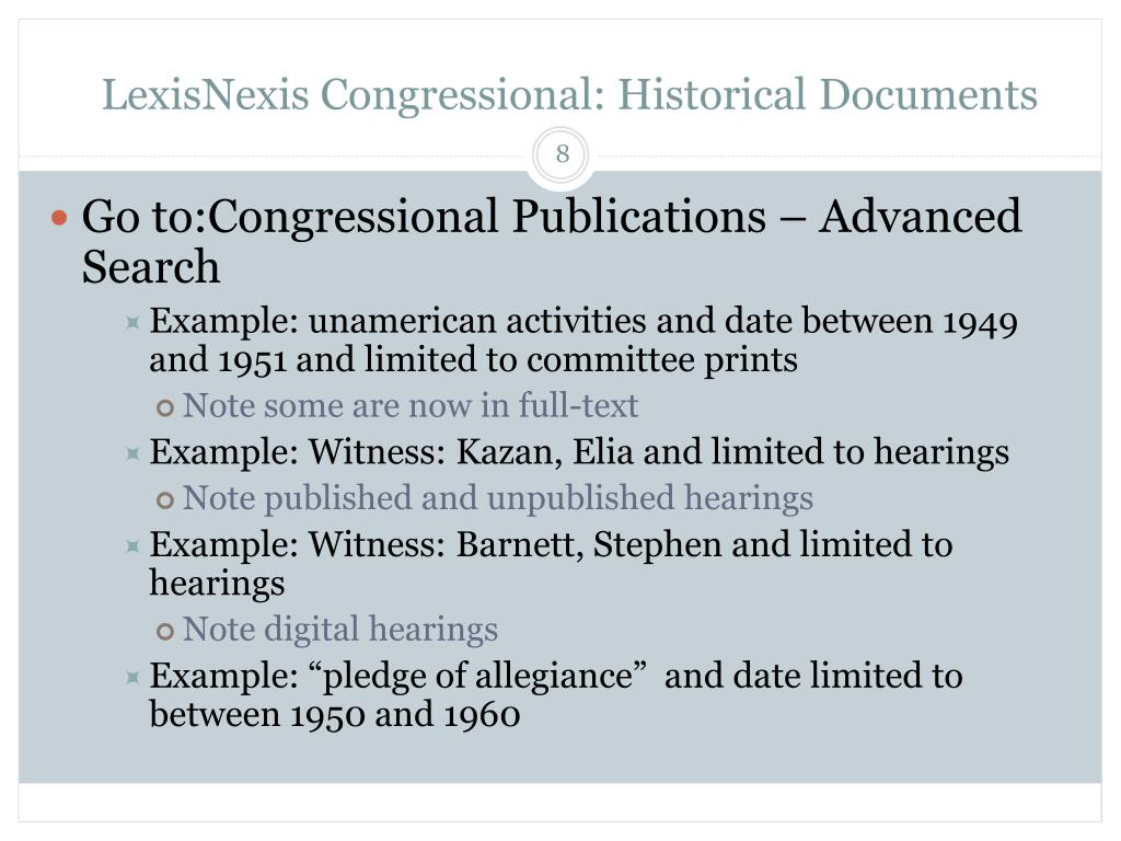 LexisNexis Congressional: Historical Documents