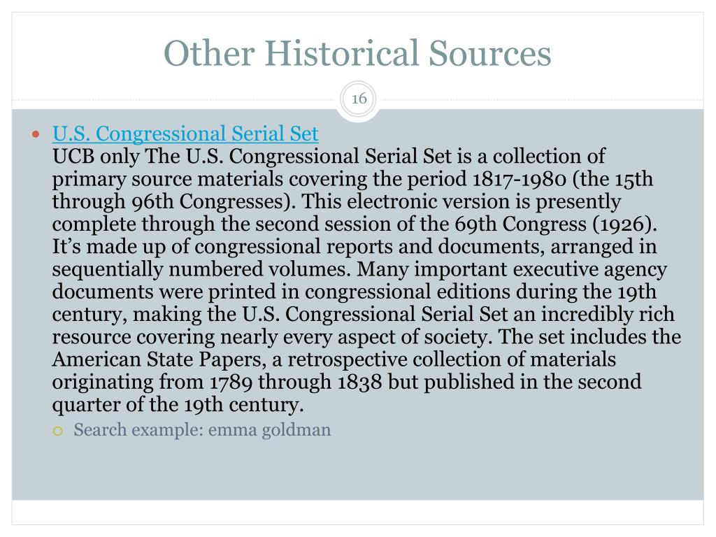 Other Historical Sources