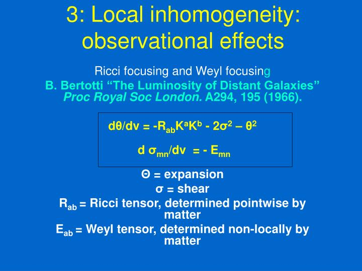 3: Local inhomogeneity: