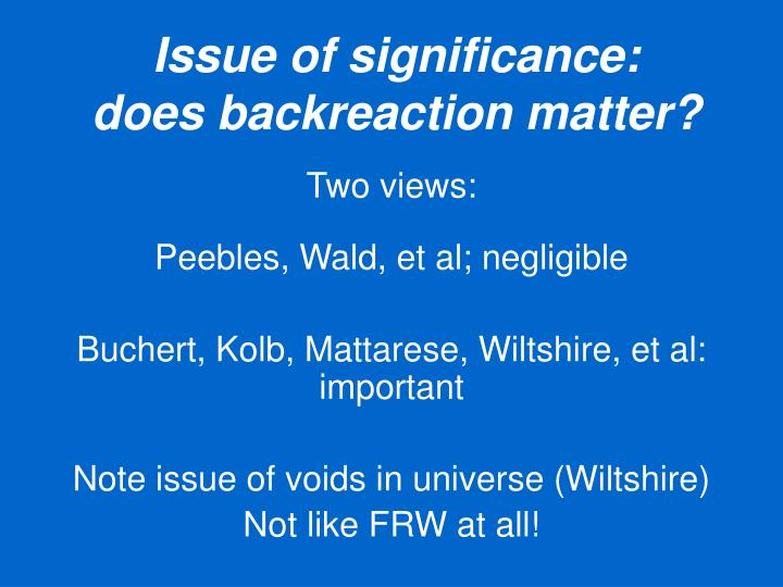 Issue of significance:
