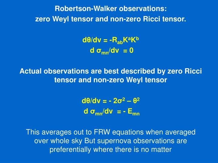 Robertson-Walker observations: