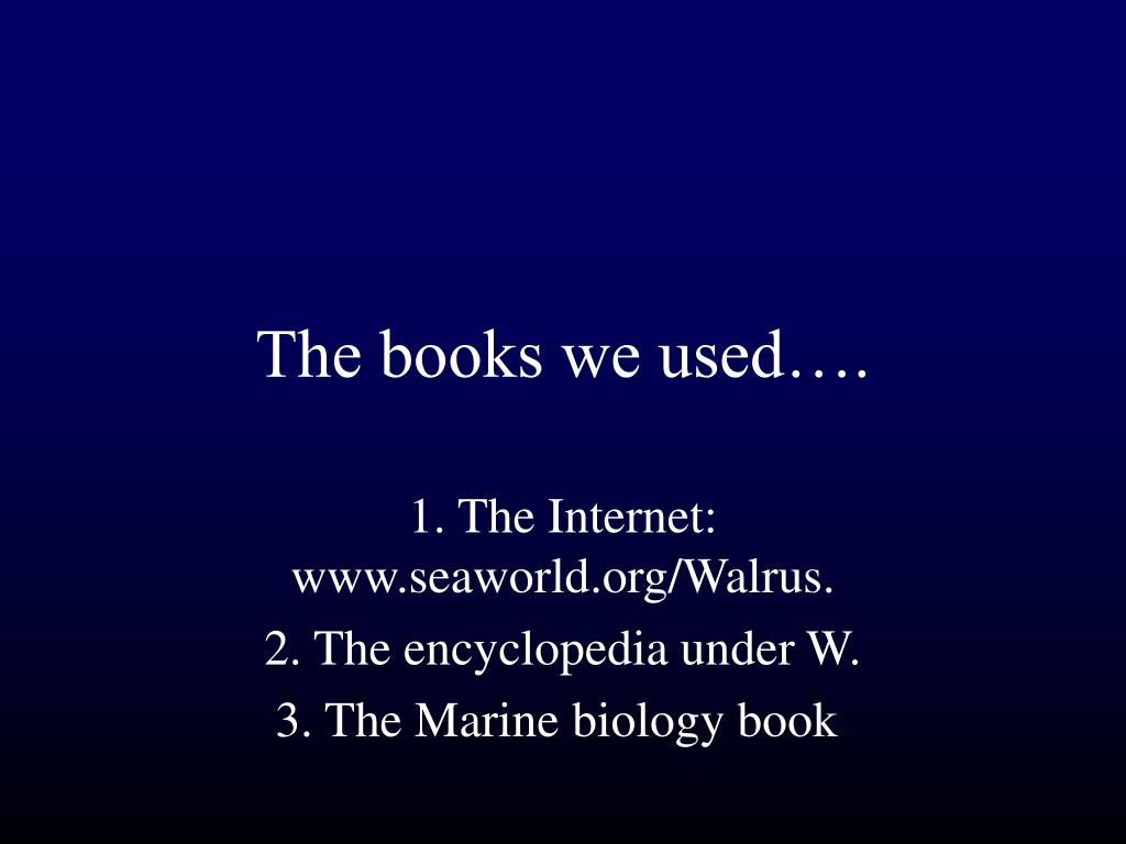 The books we used….