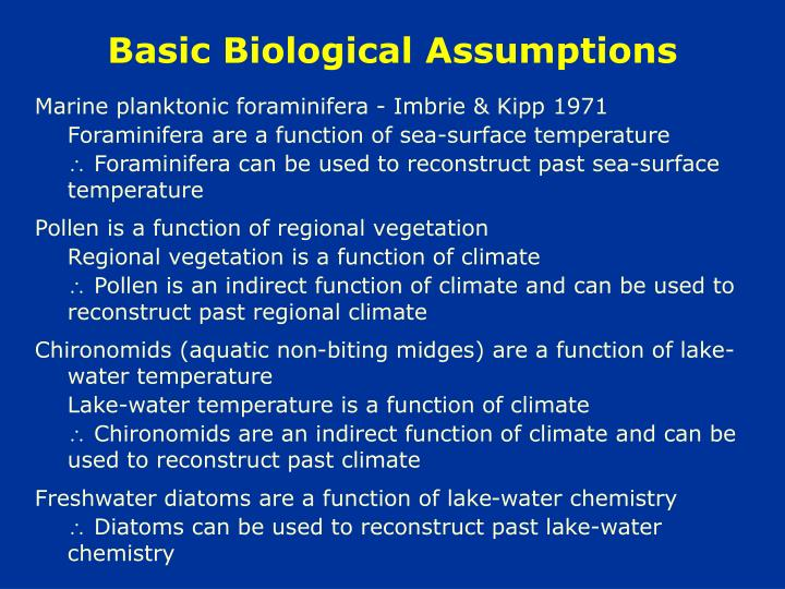 Basic Biological Assumptions