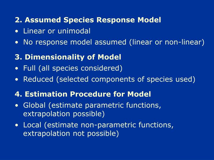 2. Assumed Species Response Model