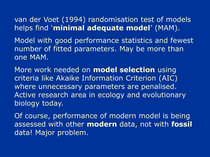 van der Voet (1994) randomisation test of models helps find '