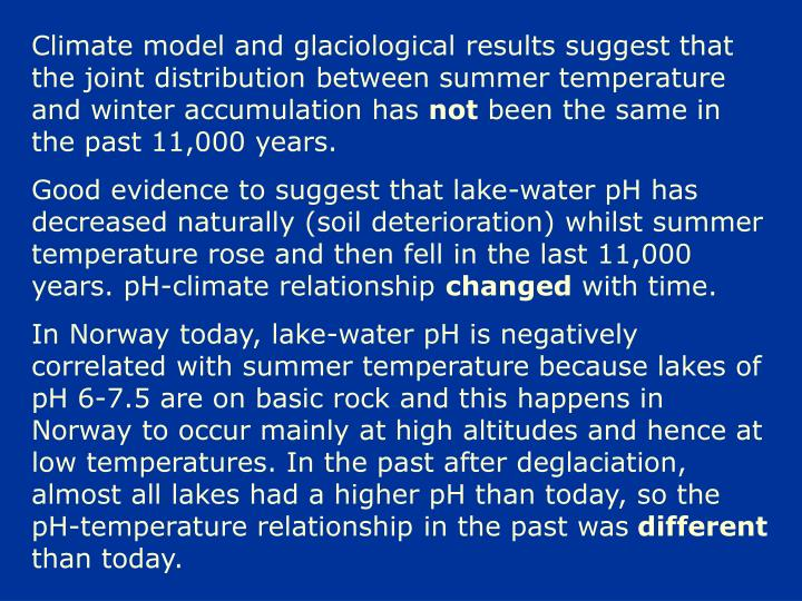 Climate model and glaciological results suggest that the joint distribution between summer temperature and winter accumulation has