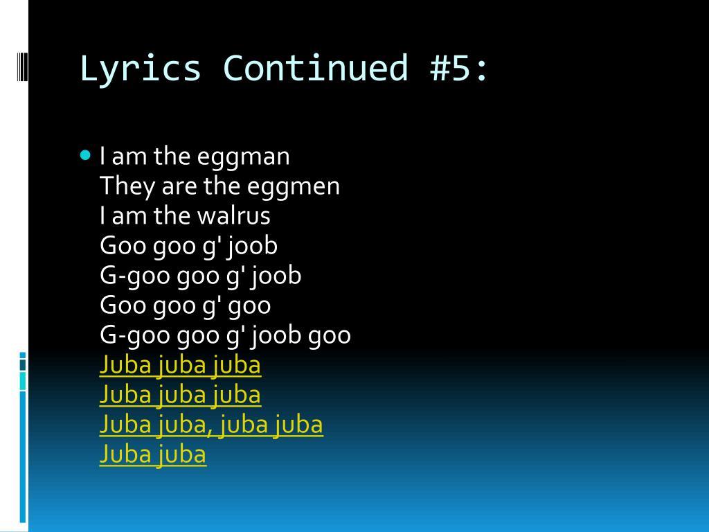 Lyrics Continued #5: