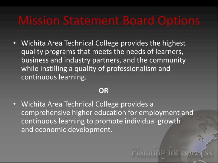 Mission Statement Board Options