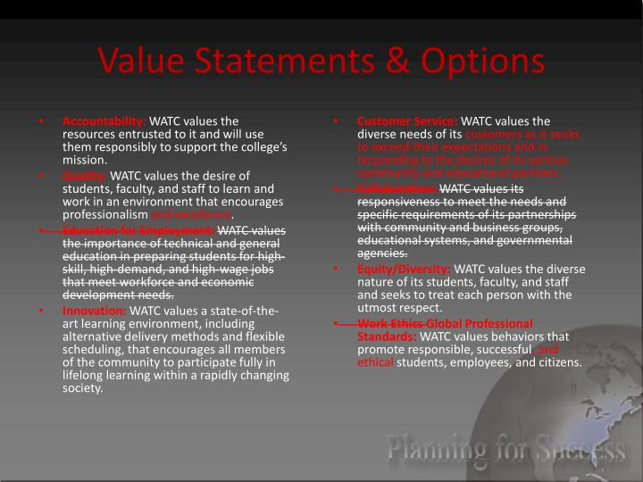 Value Statements & Options
