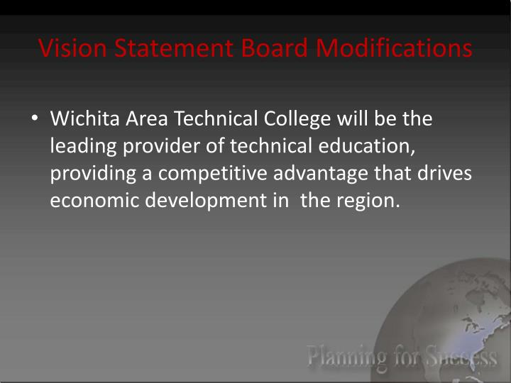 Vision Statement Board Modifications
