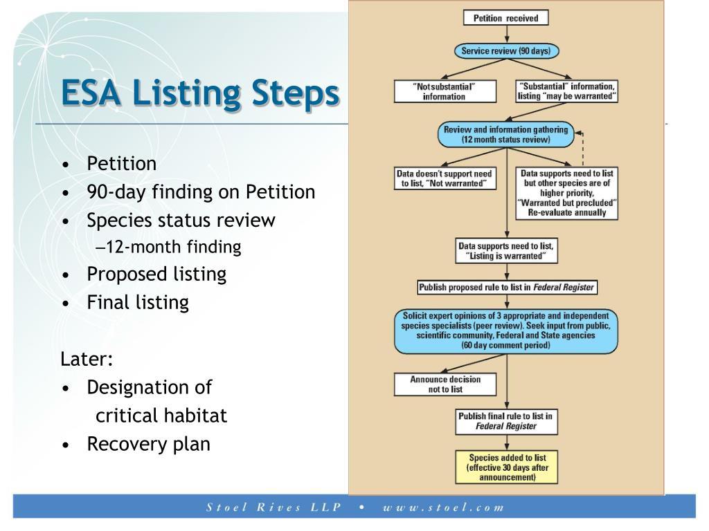 ESA Listing Steps