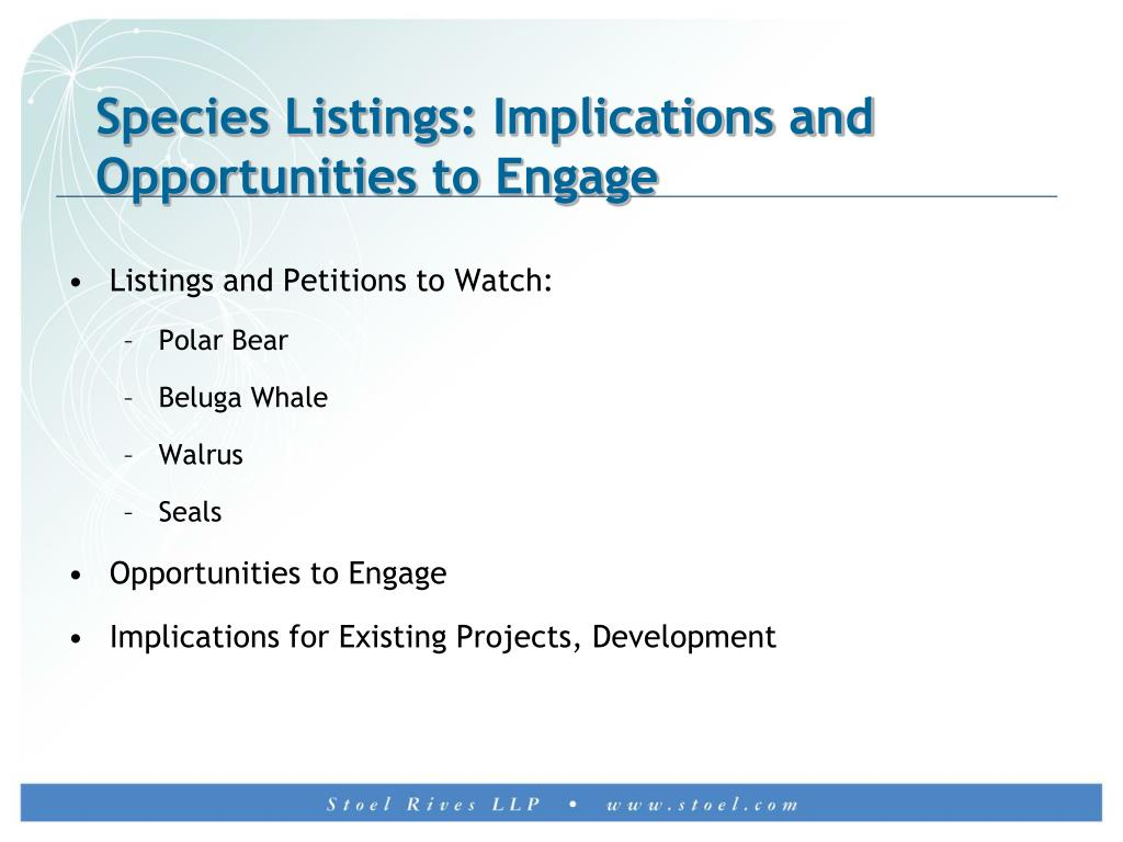 Species Listings: Implications and Opportunities to Engage