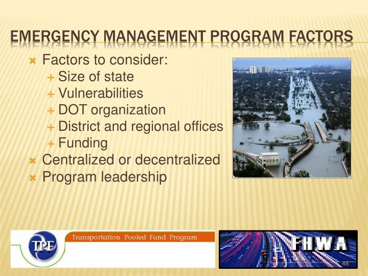 Emergency management Program Factors