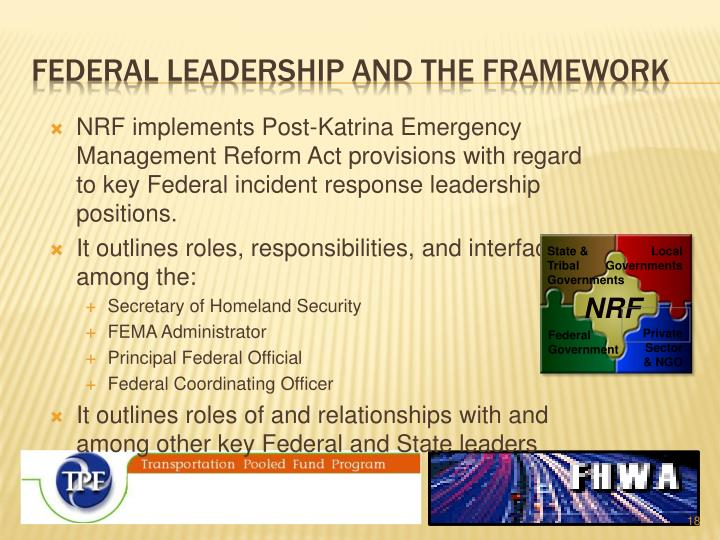 Federal leadership and the framework