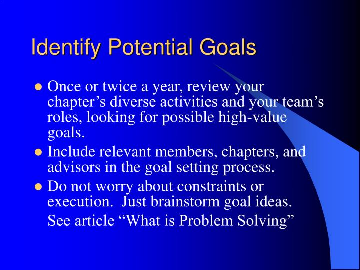 Identify Potential Goals