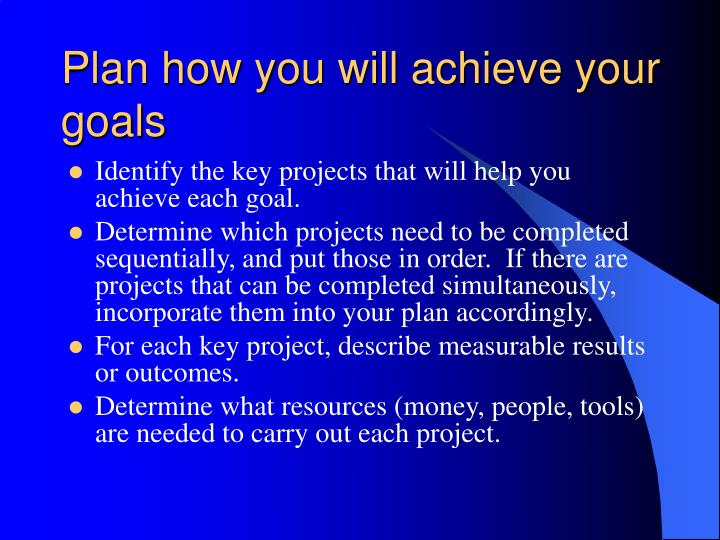 Plan how you will achieve your goals