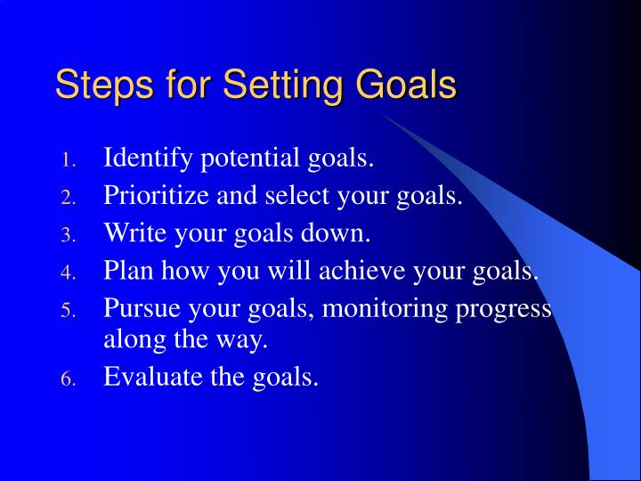 Steps for Setting Goals